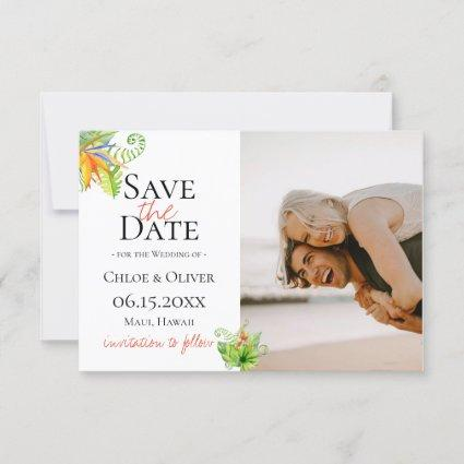 Tropical Island Botanical Photo Save The Date Announcement