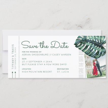 Tropical Leaf Boarding Pass Photo Save the Date Announcement