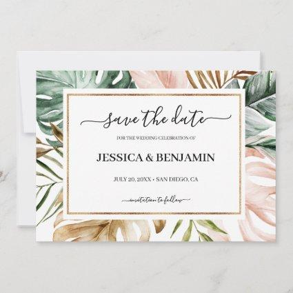 Tropical Leaves Calligraphy Wedding Save the Date