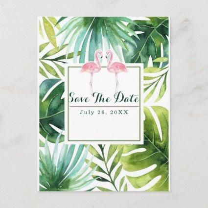 Tropical Leaves & Flamingos Wedding Save the Date Announcement