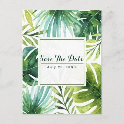 Tropical Leaves Hawaiian Wedding Save the Date Announcement