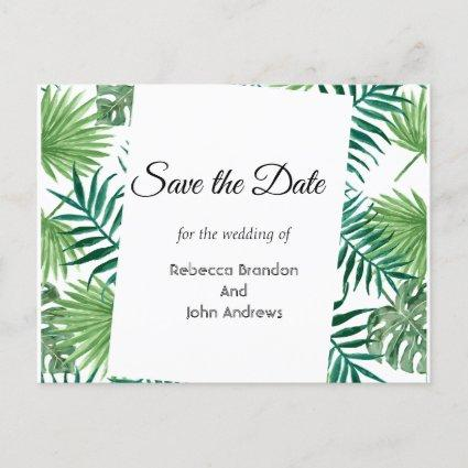 Tropical Leaves Palm Save the Date Invite