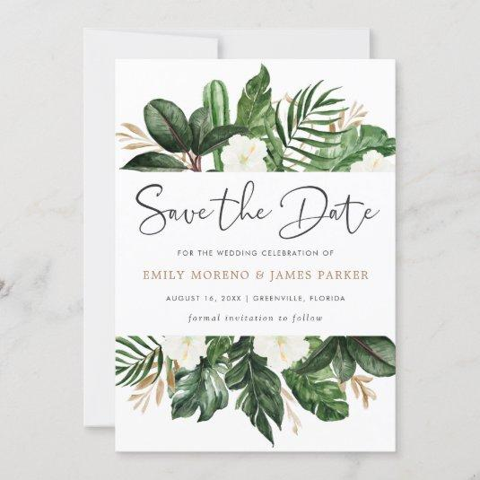 Tropical Modern Palm Cactus White Floral Save The Date