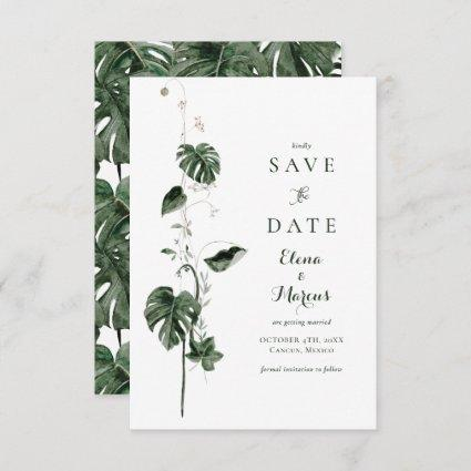 Tropical Monstera Palm Botanicals Save The Date
