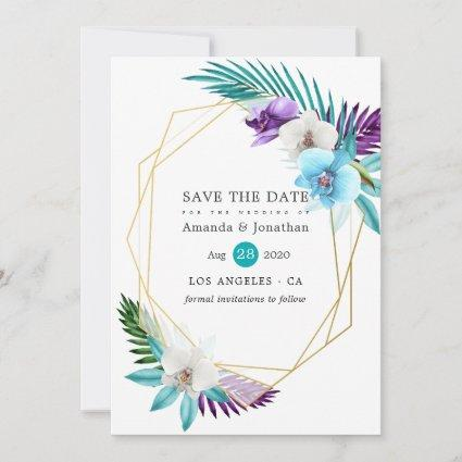 Tropical Orchids Beach Wedding Geometric Save The Date