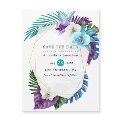 Tropical Orchids Beach Wedding Save the Date