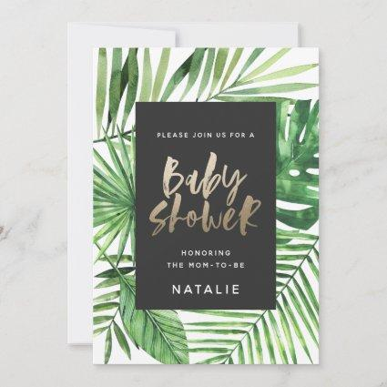 Tropical palm and gold script baby shower invite