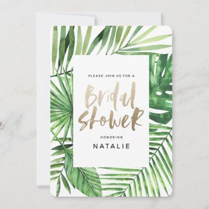 Tropical palm and gold script bridal shower invite
