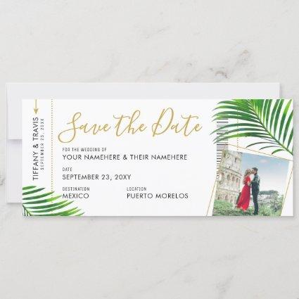 Tropical Palm Boarding Pass Photo Save the Date Announcement
