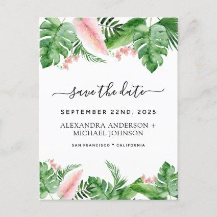 Tropical Palm Floral Watercolor Save the Date Announcement