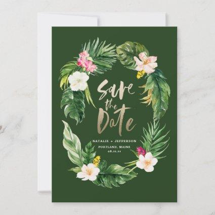 Tropical palm leaf and floral gold script save the date