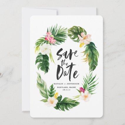 Tropical palm leaf and floral watercolor foliage save the date