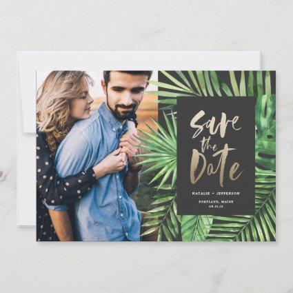 Tropical palm leaf and gold script foliage photo save the date