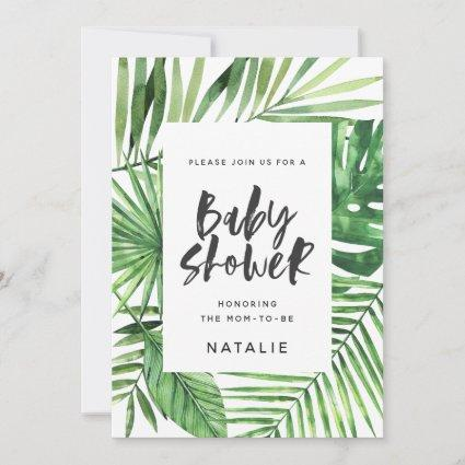 Tropical palm leaf and script baby shower invite