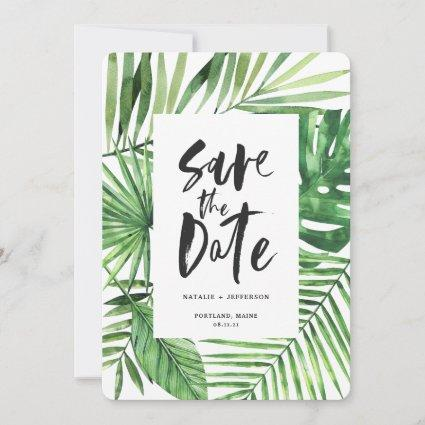 Tropical palm leaf and script watercolor foliage save the date