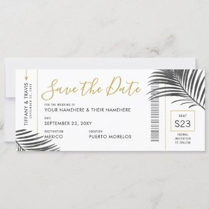 Tropical Palm Leaf Boarding Pass Save Date B+W Announcement