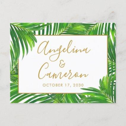 Tropical Palm Leaf Border Green Gold Save the Date Announcement