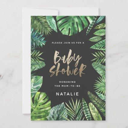Tropical palm leaf & gold script baby shower card