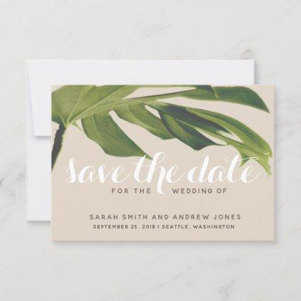 Tropical Palm Leaf Green and Tan Save the Date