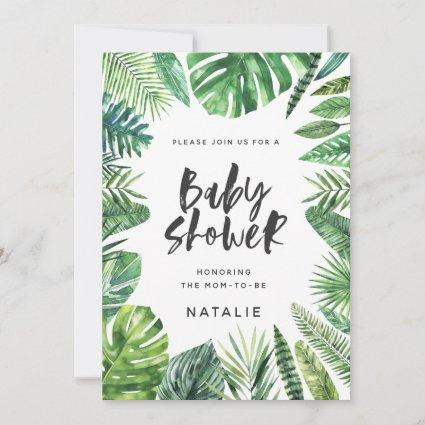 Tropical palm leaf & script baby shower invitation