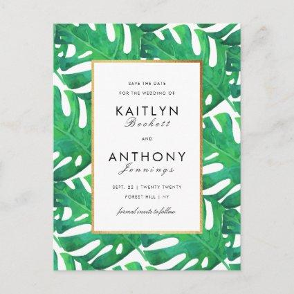 Tropical Palm Leaves Beach Wedding Save The Date Announcement