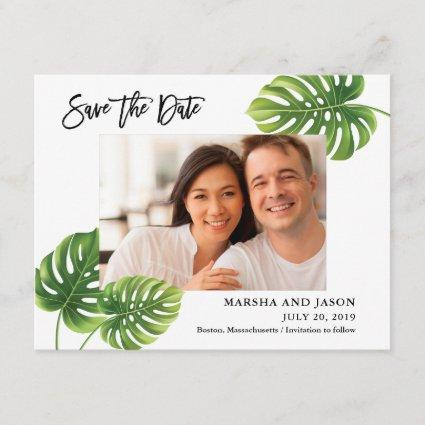 Tropical Palm Leaves Save the Date Card