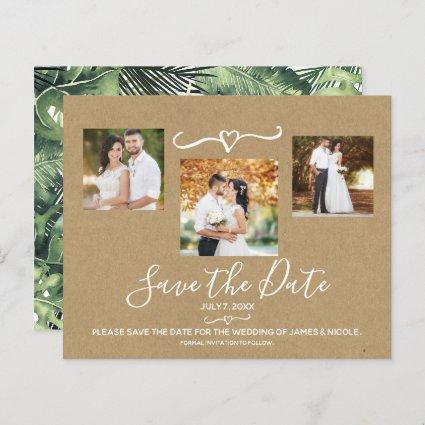 Tropical Palm Leaves  Wedding Photo Save the Date