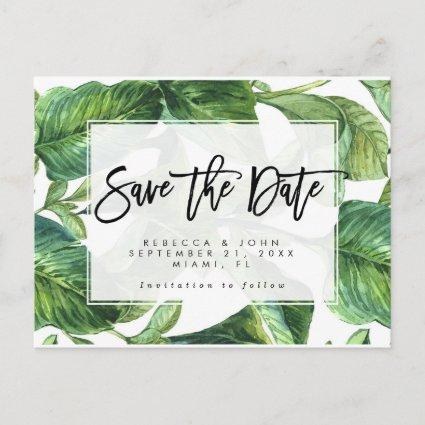tropical palm leaves wedding save the date card