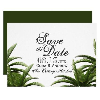 Tropical Palm Tree Green Wedding Save the Date Invitation