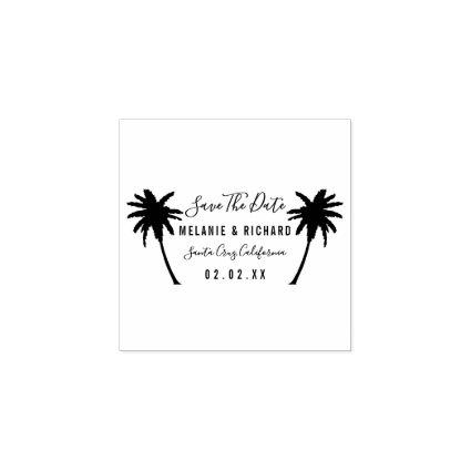 Tropical Palm Trees | Modern Save The Date Wedding Rubber Stamp
