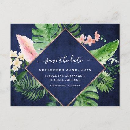 Tropical Palm Watercolor Navy Blue Save the Date Announcement