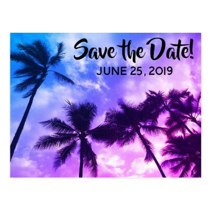 Tropical Palms Save the Date Announcements Cards