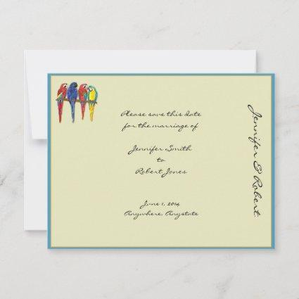 Tropical Parrots Save the Date Card