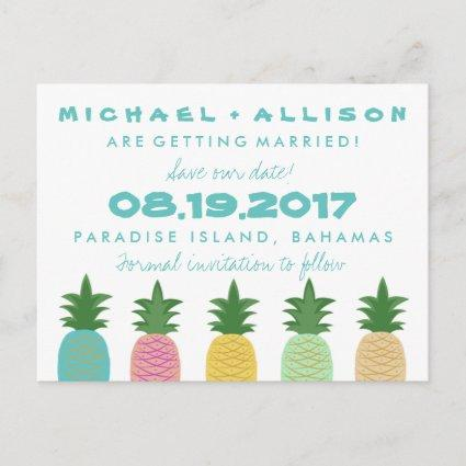 Tropical Pineapple Destination Save the Date Announcements Cards