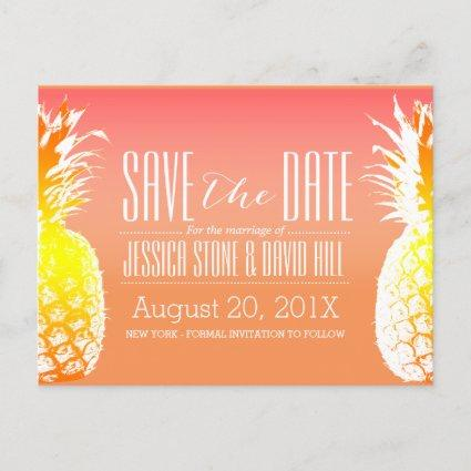 Tropical Pineapple Elegant Wedding Save the Date Announcement