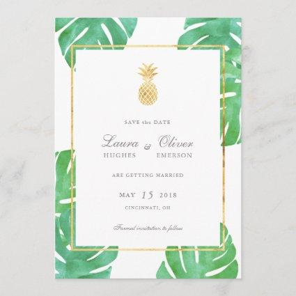 Tropical Pineapple Gold Save the Date Cards