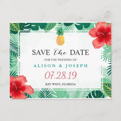 Tropical Pineapple Hawaiian Hibiscus Save the Date Announcement