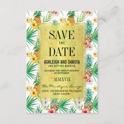 Tropical Pineapple & Hibiscus Save The Date