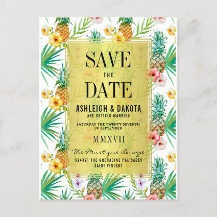 Tropical Pineapple & Hibiscus Save The Date Invitation