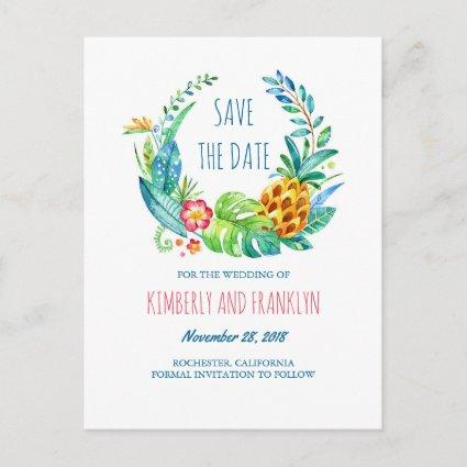 Tropical Pineapple Palms Beach Save the Date Announcement