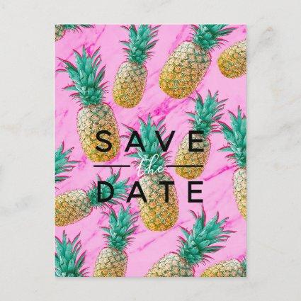 Tropical Pineapple Pink Marble Save the Date Announcement