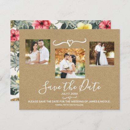 Tropical Pineapples Wedding Photo Save the Date