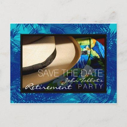 Tropical Retirement with Blue Palms Save the Date Announcement