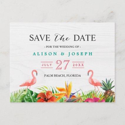 Tropical Save The Date | Hibiscus Floral Flamingo Announcement