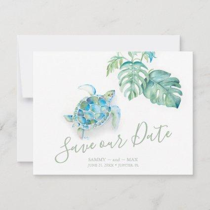 Tropical Save the Date with Watercolor Sea Turtle