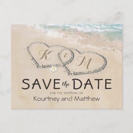 Tropical Vintage Beach Heart Shore Save the Date Announcement