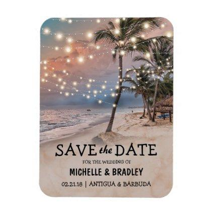 Tropical Vintage Beach Lights Fridge Save the Date Magnet