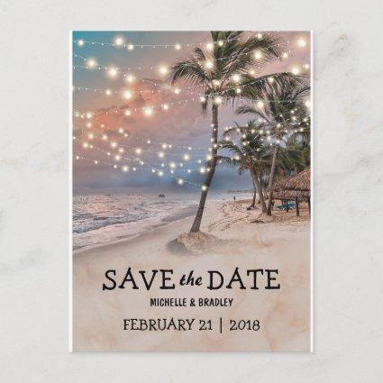 Tropical Vintage Beach Lights Save the Date Announcement