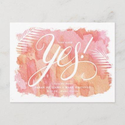Tropical Watercolor Background Save the Date Announcement