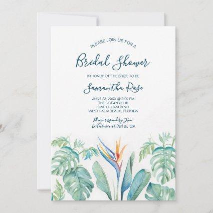 Tropical Watercolor Botanical Bridal Shower Save The Date